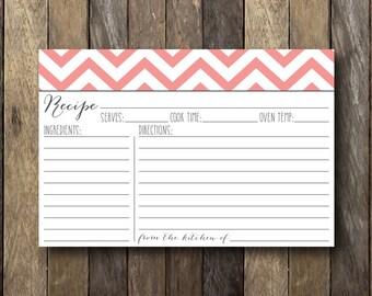 Chevron Recipe Cards - 4x6 Recipe Cards - Pink Recipe Cards - Pink Chevron - Chevron Kitchen - Pink Kitchen - Bridal Shower Printables