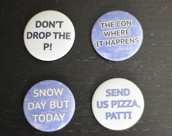 BroadwayCon 2016 Button or Magnet Pack - 4 Pinback Buttons or Magnets