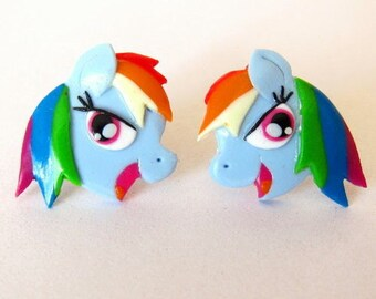 Rainbow Dash Earrings, My Little Pony Earrings, Blue Horse Earrings, Kawaii Earrings, Girls Earrings, Girls Jewelry, Girls Gifts Ideas Fimo