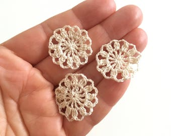 Miniature doilies, set of 3, 6 colors, 1/12 one inch scale, handmade