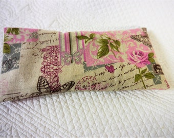 Eye Pillow - Heat Pack with Removable Cover -  Butterflies & Roses Linen   - Handmade