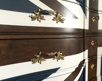 Union Jack Dresser with wood stain stripes
