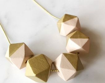Geometric Bead Necklace - pale peach and gold