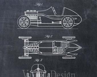 Miller Race Car Patent Print, Patent Art Print, Patent Poster, Wall Art, Automobile, Engineer