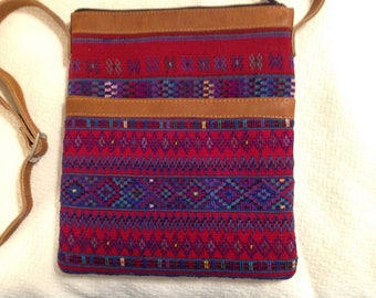 Leather Crossbody with Guatemalan Huipil and Cortes Fabric Inserts