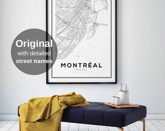 Montreal Map Print, Quebec Map, City Map Print, Montreal Map Poster, Quebec, Canada City Map, Map Wall Art, Map Poster, Black and White Map