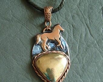 Copper Pendant - Pyrite and Horse Silhouette