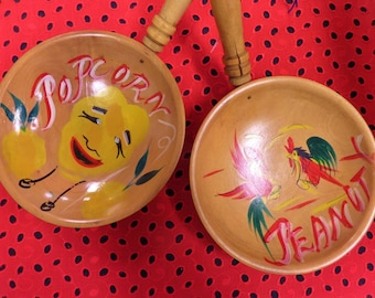 Kitschy Mid Century Snack Cups - Popcorn and Peanut Holders - Wooden Hand Painted Anthropomorphic Bowls