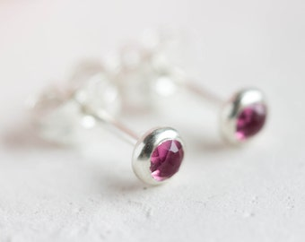 Pink Tourmaline stud earrings, October Birthstone, 3mm studs,  sterling silver or 14k gold filled