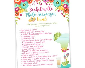 Fiesta Theme Bachelorette Party Photo Scavenger Hunt Game with Margarita, Tequila and Colorful Fiesta Flowers- Printable File