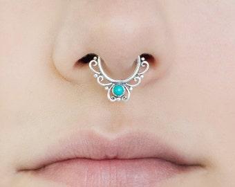 Fake septum ring. septum cuff. septum ring. turquoise septum ring. tribal septum. faux septum. fake septum piercing. turquoise.