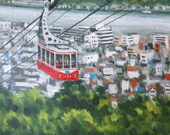 VJ232 : Oil on Canvas painting,Japanese Shimoda ropeway ,Artist sign,Hand painted in Japan