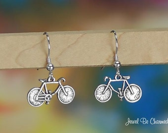 Sterling Silver Bicycle Earrings Fishhook Earwires Solid .925 Bikes