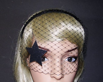 fashion show inspired delicate gold silver or black glitter star french veil face mask masquerade headband vogue inspired  black beaded bead