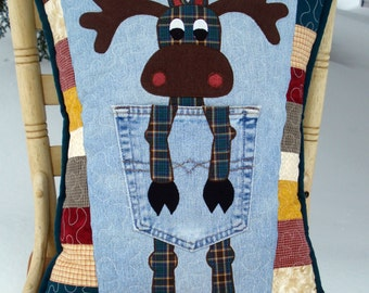 """Pattern for """"Northern Moose""""  Quilted Pillow made with Upcycled Recycled Denim Jeans"""