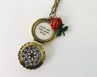 Enchanted Rose Locket, Belle Rose necklace, Beauty and the beast, Until the last petal falls, quote locket, keepsake jewelry