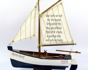 Personalised christening, baptism, dedication, etc gift, small, wooden model sail boat, nautical theme.  22cm