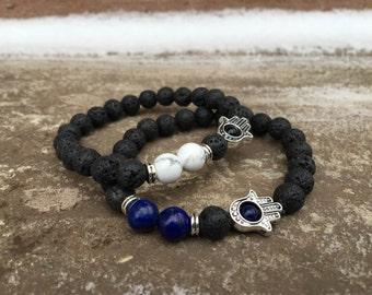 2 Pc Set! Hamsa Hand Protection Bracelet Set - Good Luck & Success - Blue/white Bracelets - Stone Beads With Lava Stones