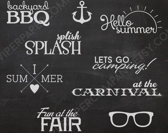9 Photo Overlays - Summer Phrases Photo Stamps - Text Word Overlay - Quote Sun Beach Photo Words Phrase NSTANT DOWNLOAD