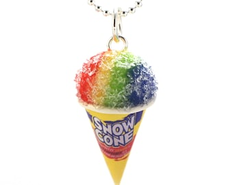 Scented Snow Cone Necklace Fruity Ice Frosty Tasty Treat Miniature Food Jewelry Polymer Clay Charm Kawaii Pendant