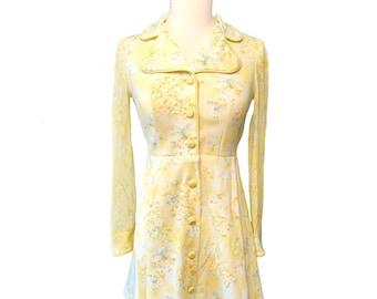 Vintage summer dress, 1960s retro short dress, yellow flower mini dress with sheer sleeves, flower power, size 2-4