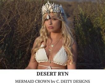 Mermaid Crown, Festival Crown, Bohemian Beach Bride Shell Crown ~ DESERT RYN