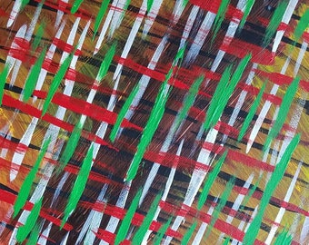 """Red, Green, Brown, Yellow Original Acrylic Abstract Painting on Canvas """"Series 4 XXVI"""" Modern Art, Contemporary Art, Wall Art, Wall Hanging"""