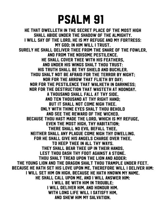 Psalm 91 Poster. Printable PDF gift psalm 91 prayer Card wall