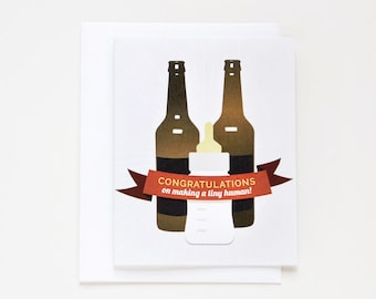 Funny Card for New Baby. Congratulations on Making a Tiny Human. Card #027