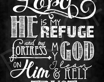Scripture Art - Psalm 91:2 ~ Chalkboard Style