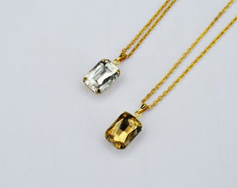 SALE- Crystal Rectangle Necklace, Glass Pendant Necklace,Fashion Modern Everyday Necklace,Gold Charm Jewelry,Bridesmaids Gift