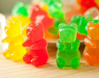 Big Gummi Bear Soaps - Candy soap - Gummy Bears - mixed fruit scented - candy soap - food soap - red, green, yellow, orange