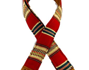 Red and Tan Saddle Blanket Fabric Guitar Strap