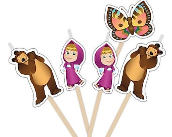 Set of 5 Candles of Figures Masha and the Bear Party Supplies Cake topper for the Birthday Holiday Masha