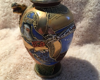 "Hand Painted Vase with Moriage, Dragon & Immortals 4"" Tall Vintage"