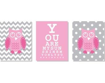 Modern Nursery Kids Art Print You Are My Sunshine Eye Chart Chevron Owl