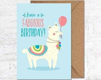Llama Card, Llama Birthday Card, Alpaca Birthday Card, Birthday Card, Funny Birthday Card, Cute Birthday Card, Animal Birthday Card