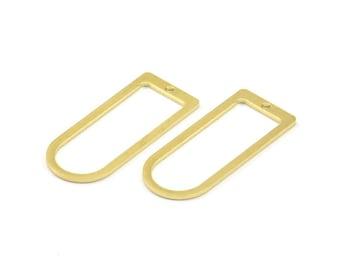D Shape Rings - 12 Raw Brass D Shape Connectors, Rings  (30x13x1mm) BS 1730