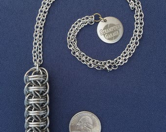 Fire Wyrm rod pendant - stainless steel chainmaille necklace