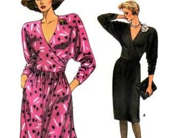 Vogue 9458 Beau Monde Dress with Crossover Bodice 1986 / SZ14-18 UNCUT