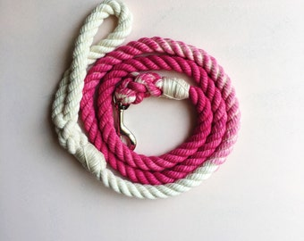 Fuchsia Solid Ombre or Marbled Cotton Rope Dog Leash