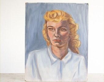Vintage Portrait of a Woman / Original Painting / Outsider Art / 1950's Portrait