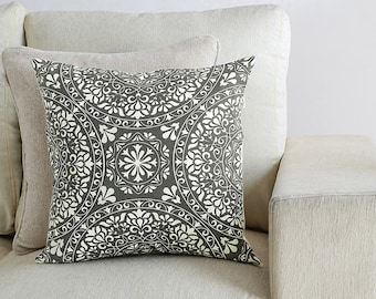 """Gray Oriental Pattern Printed Cushion Cover, standard size 16"""" x 16"""", CC00054"""
