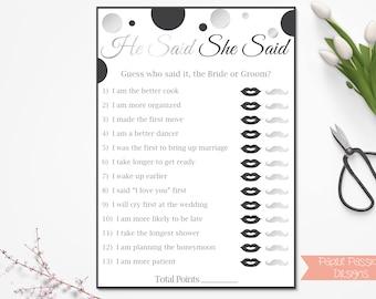 He Said She Said ~ Black and Silver Bridal Shower Game ~ Polka Dot ~ Printable Game 21SilverBlkBridal