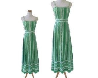 Tina Leser Boho Cotton Print Maxi Sundress with Crochet Trim
