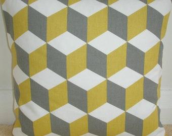 "14x14 Pillow Cover 14"" Saffron Yellow Grey Cube Gray Decorative Cubes Pillow Cushion Slip Sham Case Pillowcase Geometric Contemporary Modern"