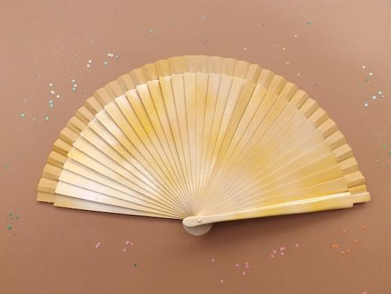 Lemon Ombre Glitter FANtasy Range Hand Fan READY to SHIP Handheld Folding Wooden Fabric Fan Sparkles Confetti