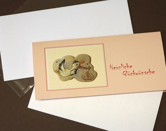 "Congratulations card, birth card, ""Storch"" for girls"