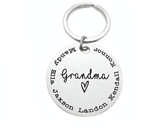 Personalized Grandma Mom Keychain - Grandma Key Chain - Engraved Children Grandchildren's Names - Mother's Day - Gift for Grandma - 1045