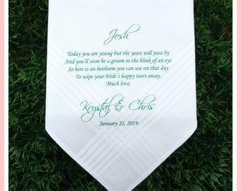 Ring Bearer gift-Ring Bearer Handkerchief-Wedding Handkerchief-PRINTED-CUSTOMIZED-Wedding hankies for Ring Bearer-Ring bearer wedding gift